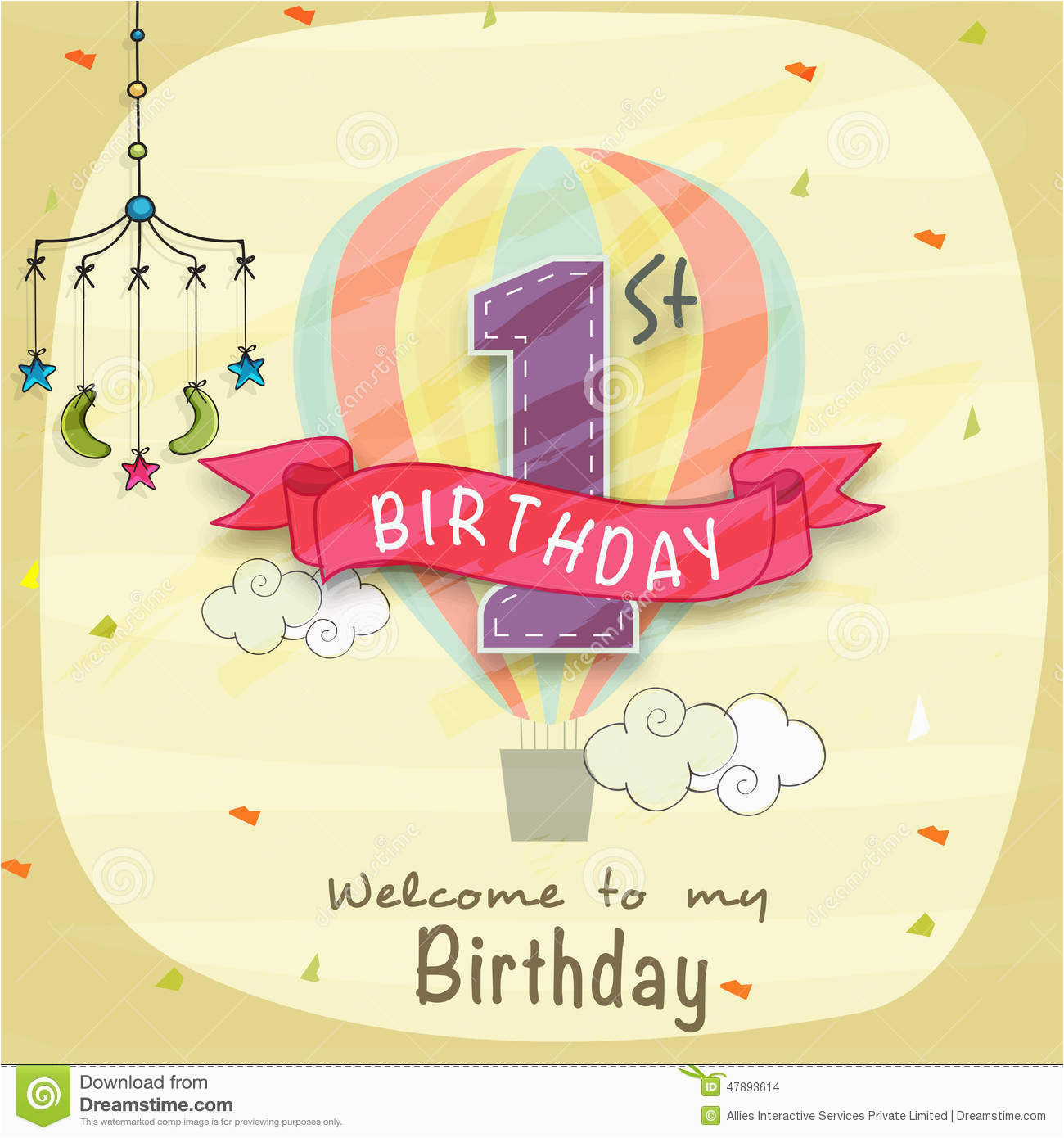 stock illustration kids st birthday invitation card design celebration mobile crib image47893614