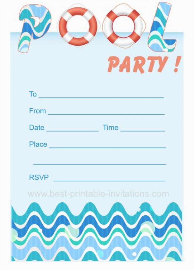 Child Birthday Invitations Free Printable Blank Pool Party Ticket Invitation Template