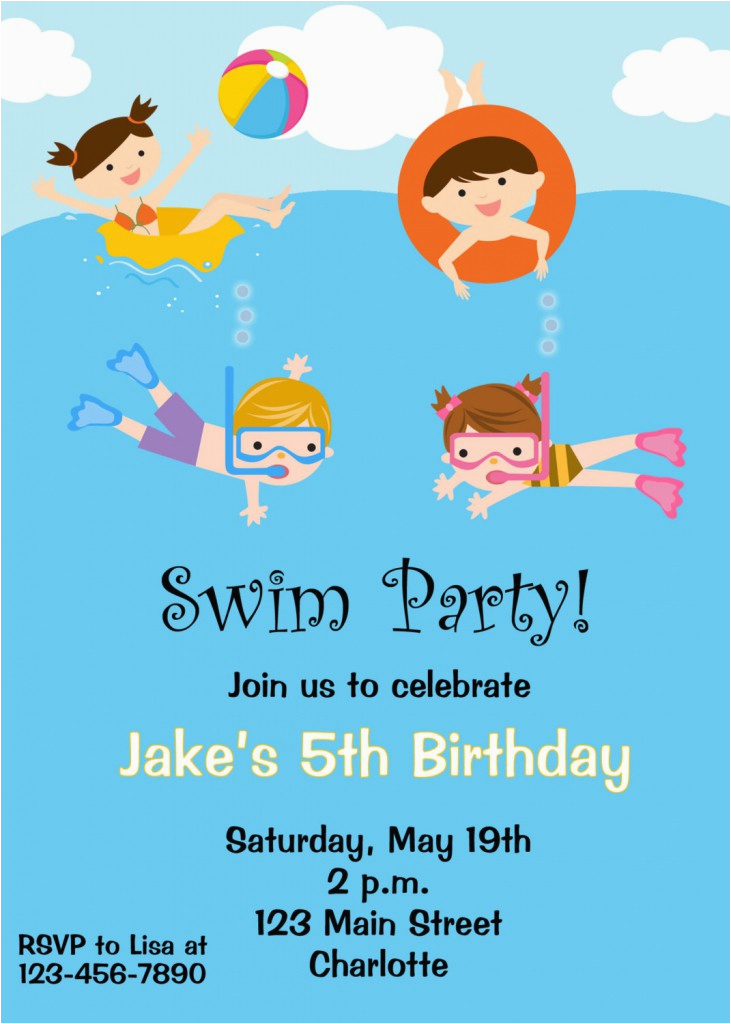 Child Birthday Invitations Free Printable Free Printable Birthday Pool Party Invitations Free