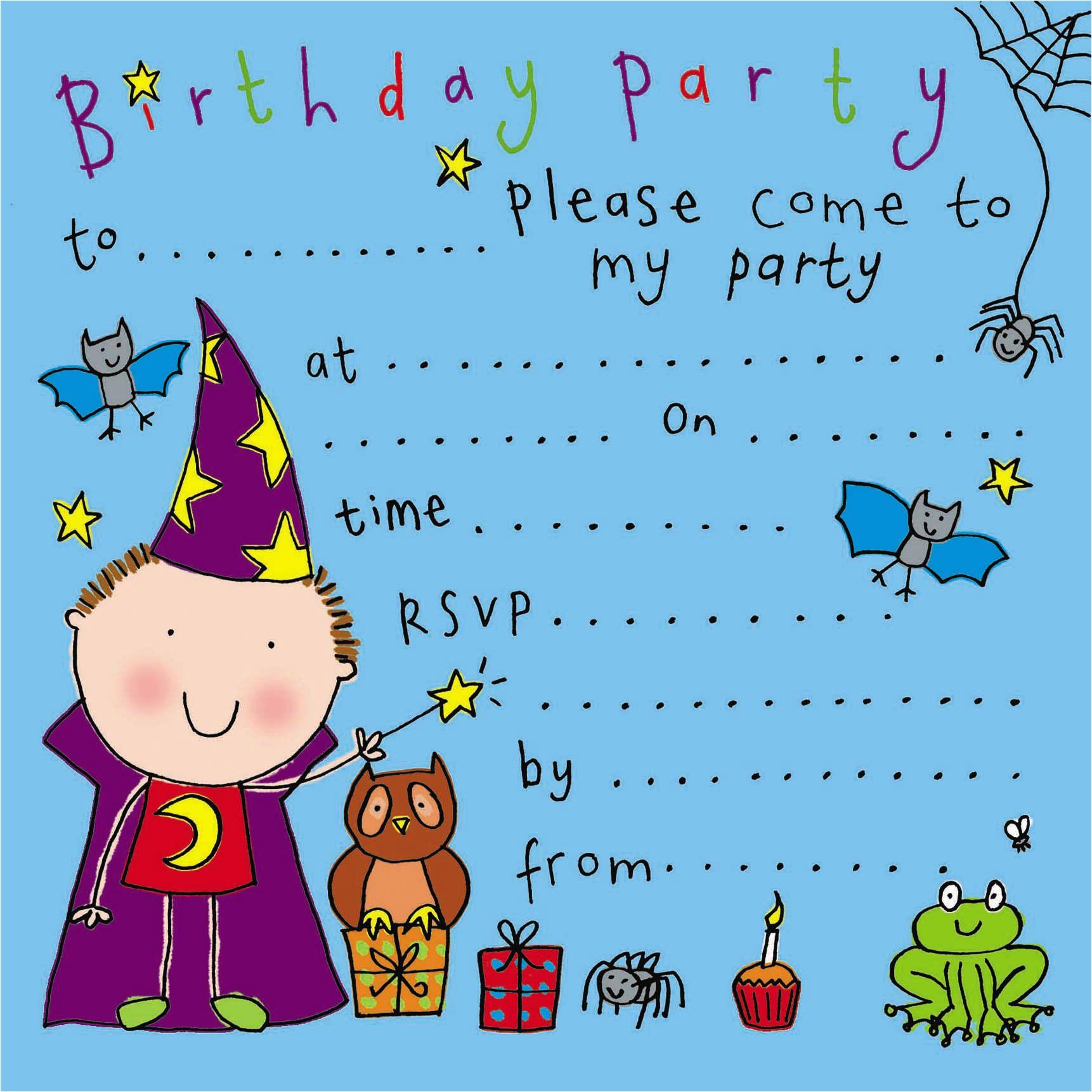 wizard childrens party invitation 3 p