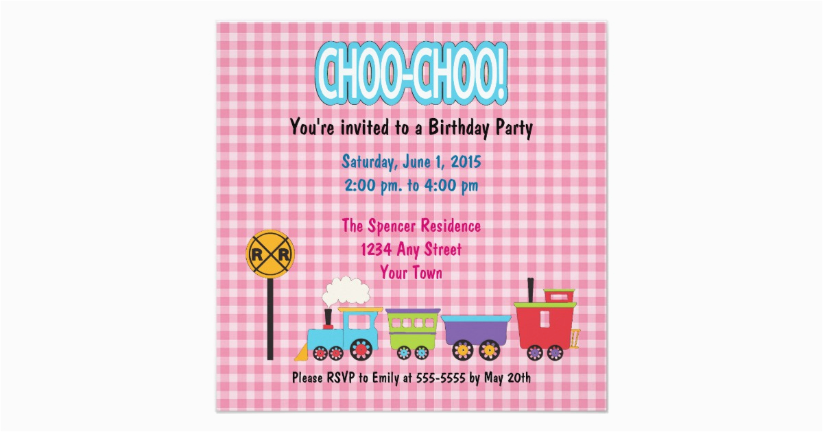choo choo train birthday party invitation 161186766318126158