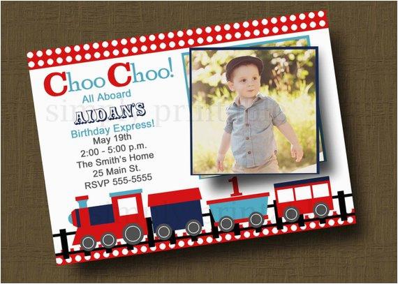 choo choo train birthday invitation with
