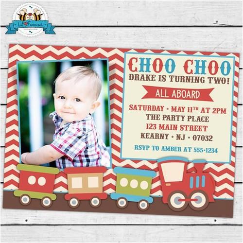 vintage choo choo train birthday party photo invitation
