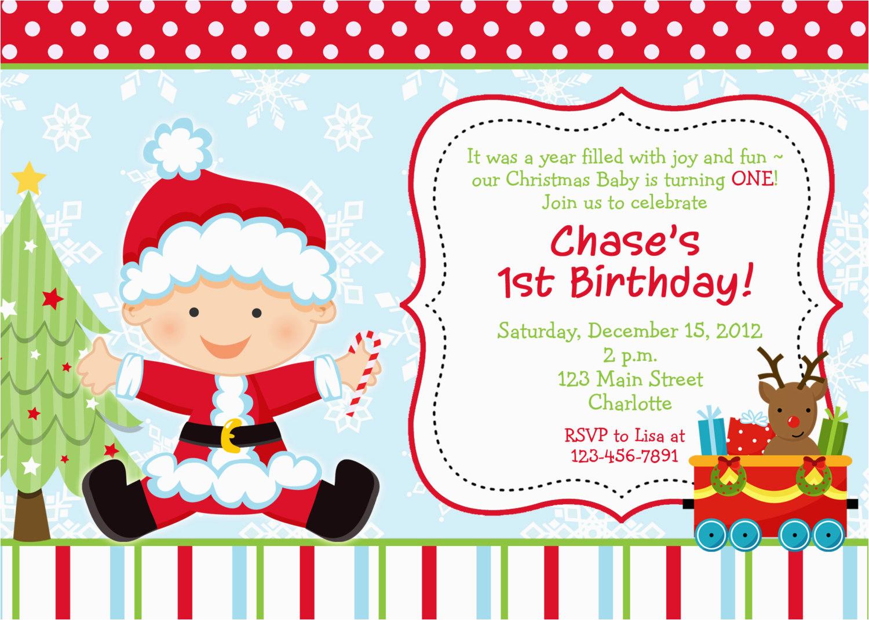 Christmas 1st Birthday Invitations First Birthday Christmas Party Invitation Christmas