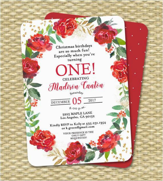 holiday 1st birthday invitation christmas 1st 2