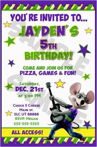 chuck e cheese birthday invitations