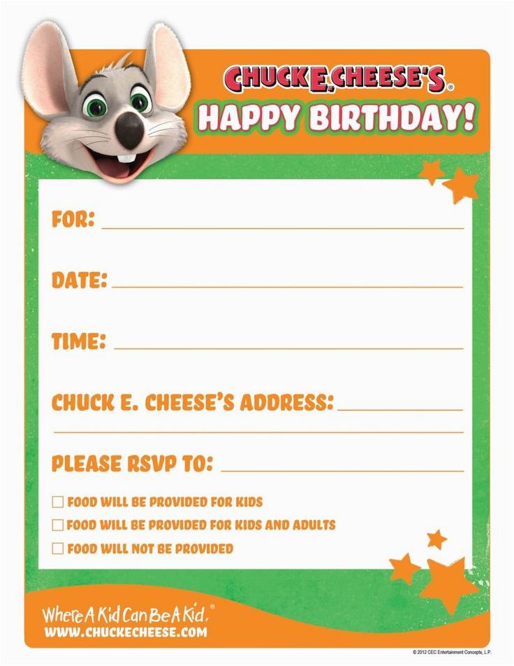 Chuck E Cheese Birthday Invitation Template Printable Birthday Invitations Birthday Party