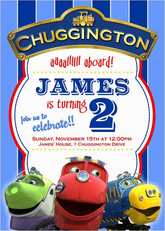 chuggington custom birthday invitation