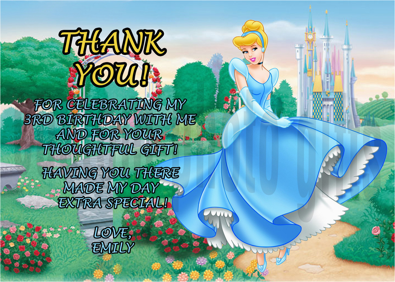personalized disney cinderella birthday thank you card