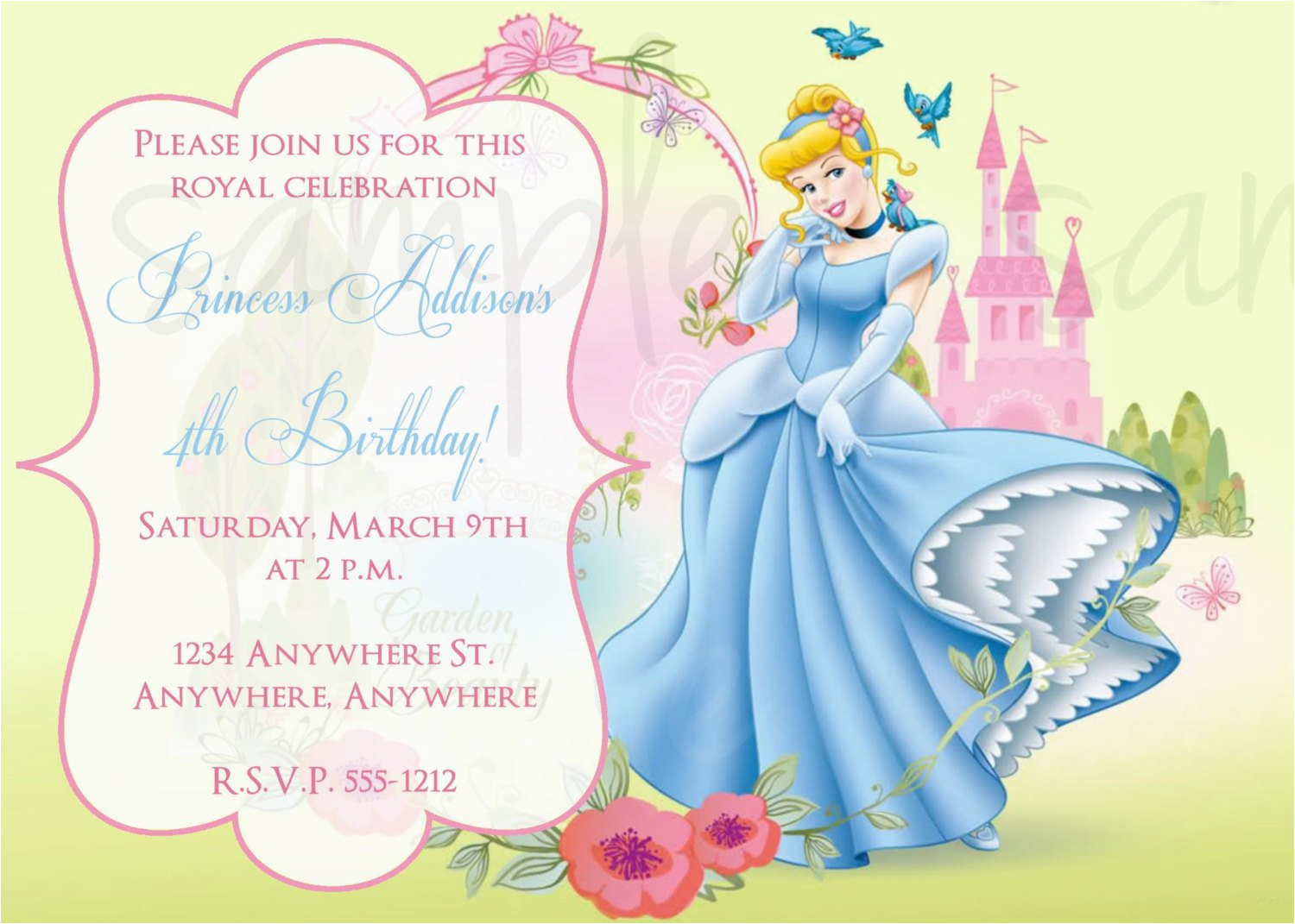 princess cinderella birthday invitation