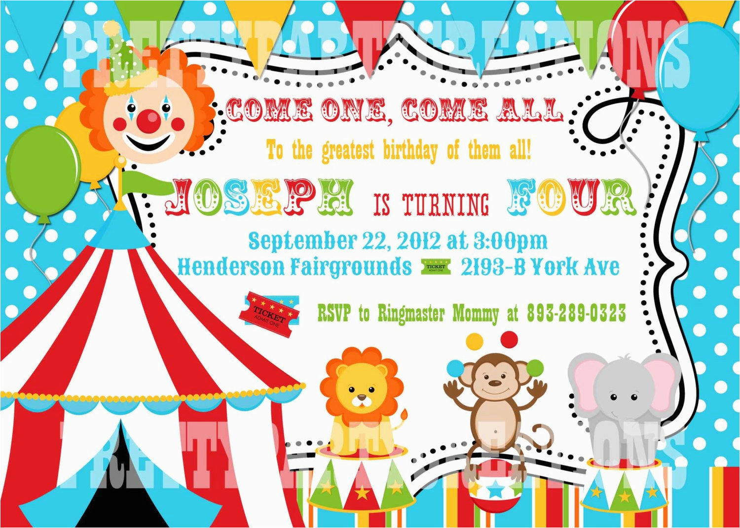 colorful circus birthday invitation you