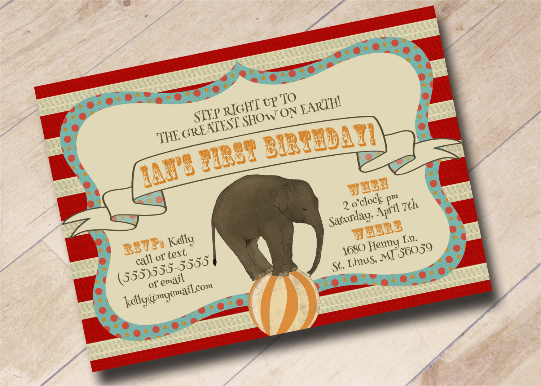 Circus Themed 1st Birthday Invitations First Invitation Vintage Theme