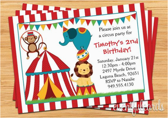 circus birthday party invitation for