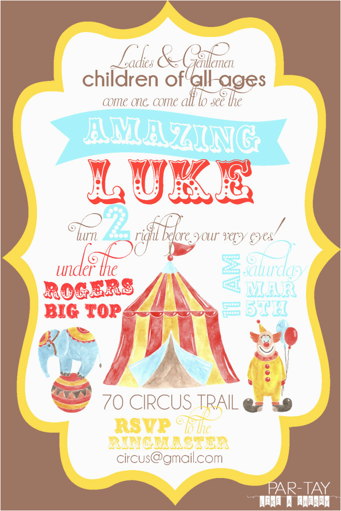 free circus birthday invitation