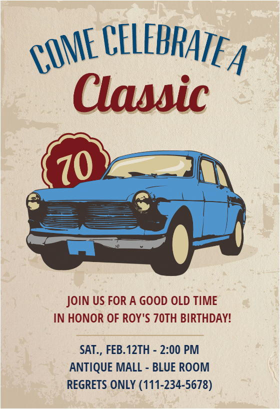 Classic Car Birthday Invitations Car Classic 70th Birthday