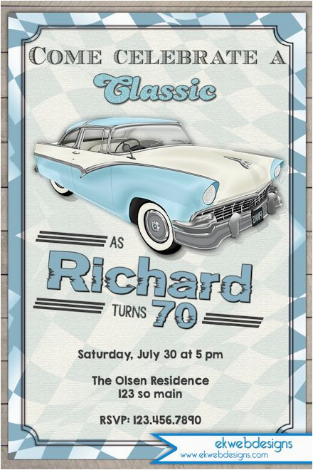 Classic Car Birthday Invitations Classic Car Birthday Invitation Vintage Car Adults