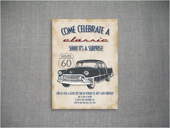 Classic Car Birthday Invitations Come Celebrate A Classic 5×7 Birthday Invitation by