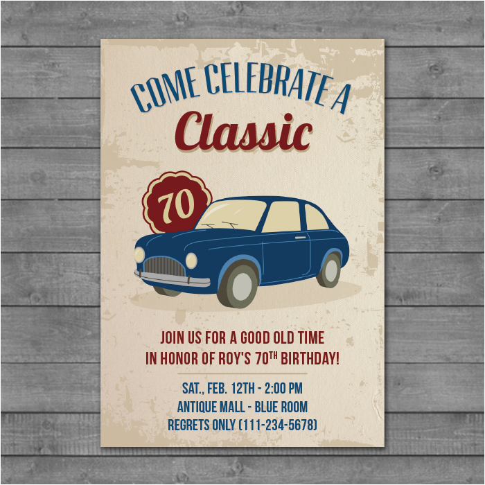 Classic Car Birthday Invitations Invitation Card Designs Rachel Bonness Design