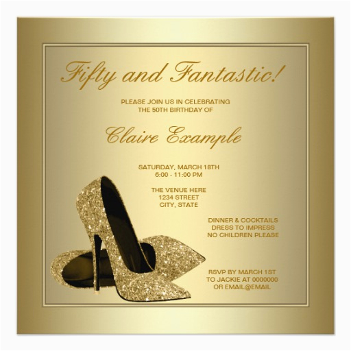 elegant gold high heels womans gold 50th birthday invitations 161277607725104351