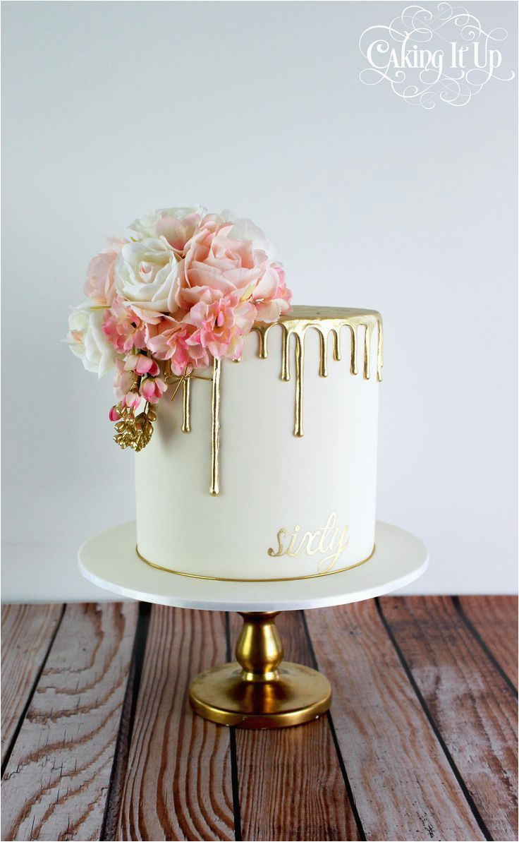 Classy Birthday Gifts For Her And Elegant Golden Drizzle 60th Cake With