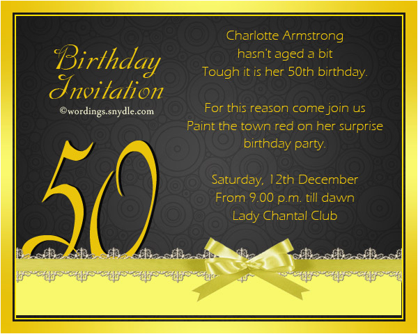 Clever 50th Birthday Invitation Wording Templates