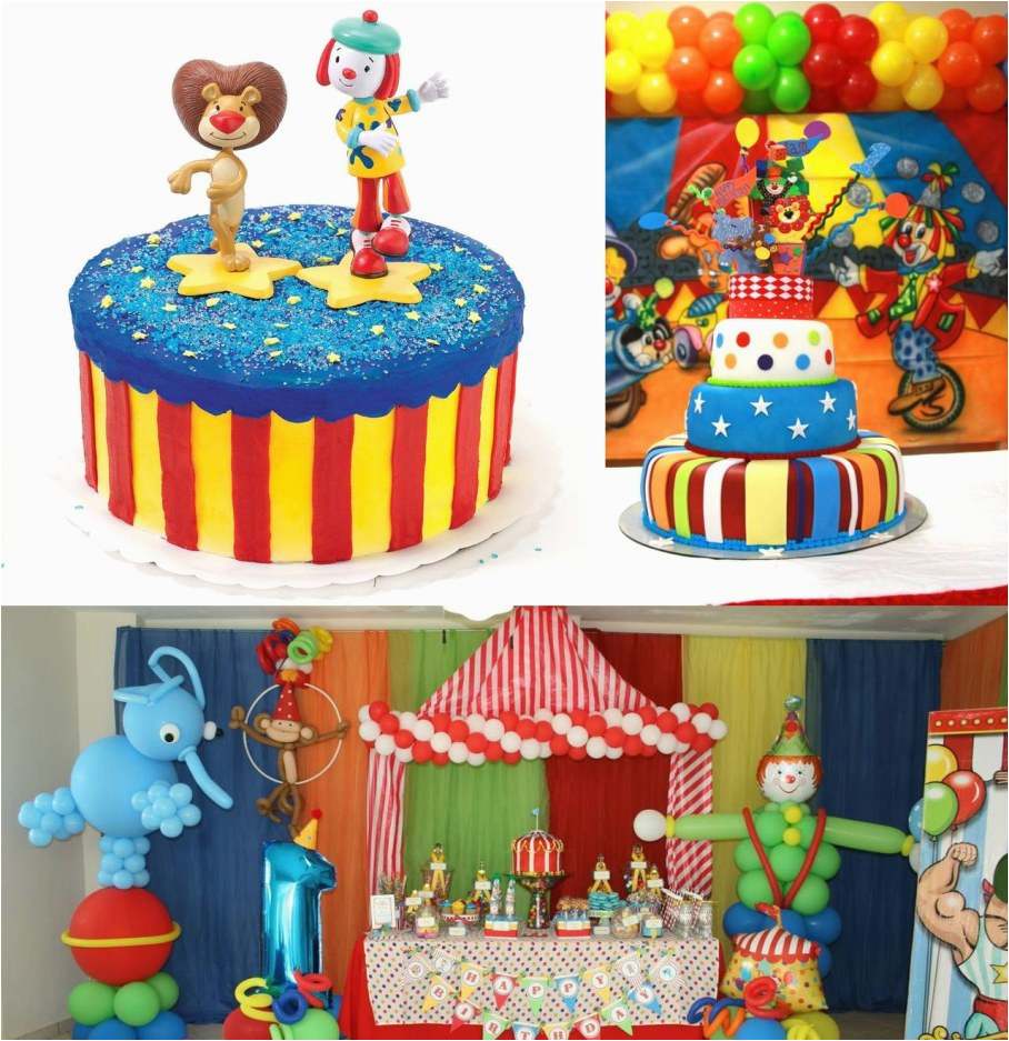 birthday party with circus decorations