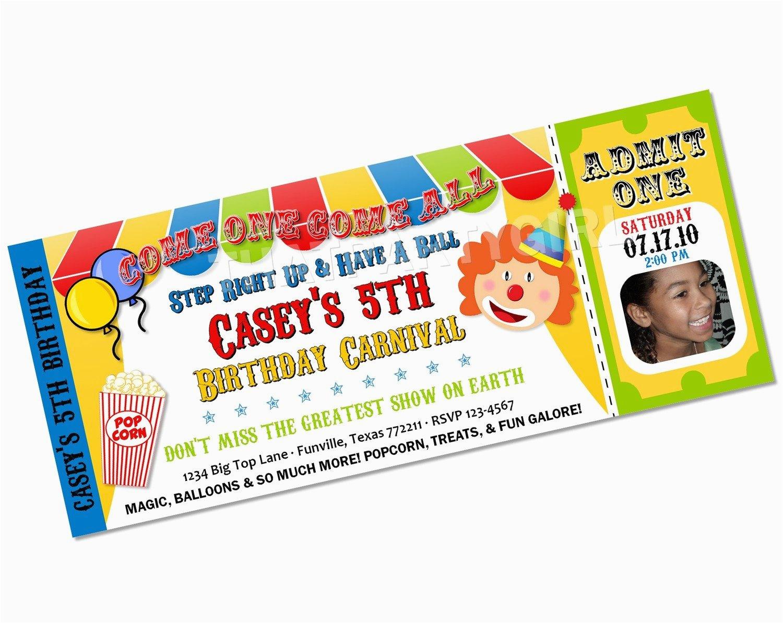 Clown Birthday Party Invitations Carnival Clown Circus Big Top