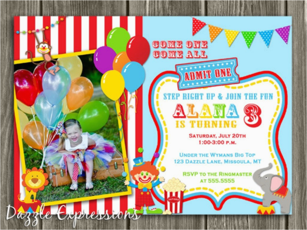 Clown Birthday Party Invitations Circus 1st Birthday Invitations