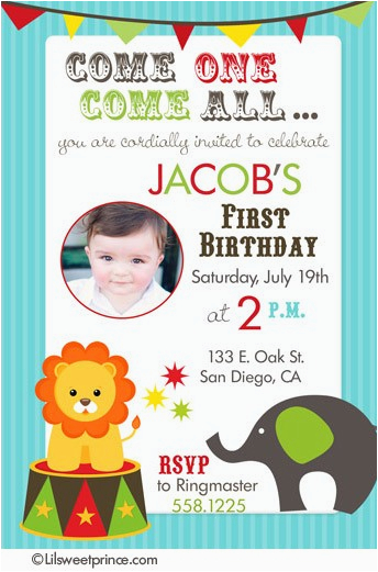 circus themed birthday party invitations