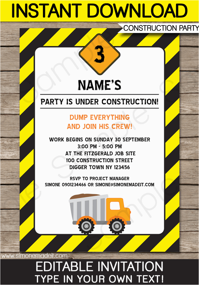 construction party invitations template birthday