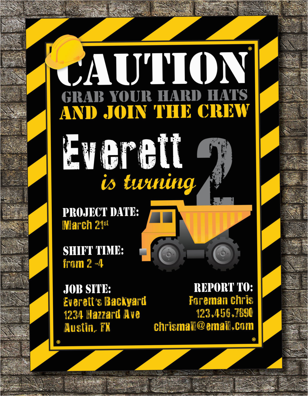 Construction Birthday Invitations Free Printable Construction Zone Birthday Invitation by Purplelephantdesigns