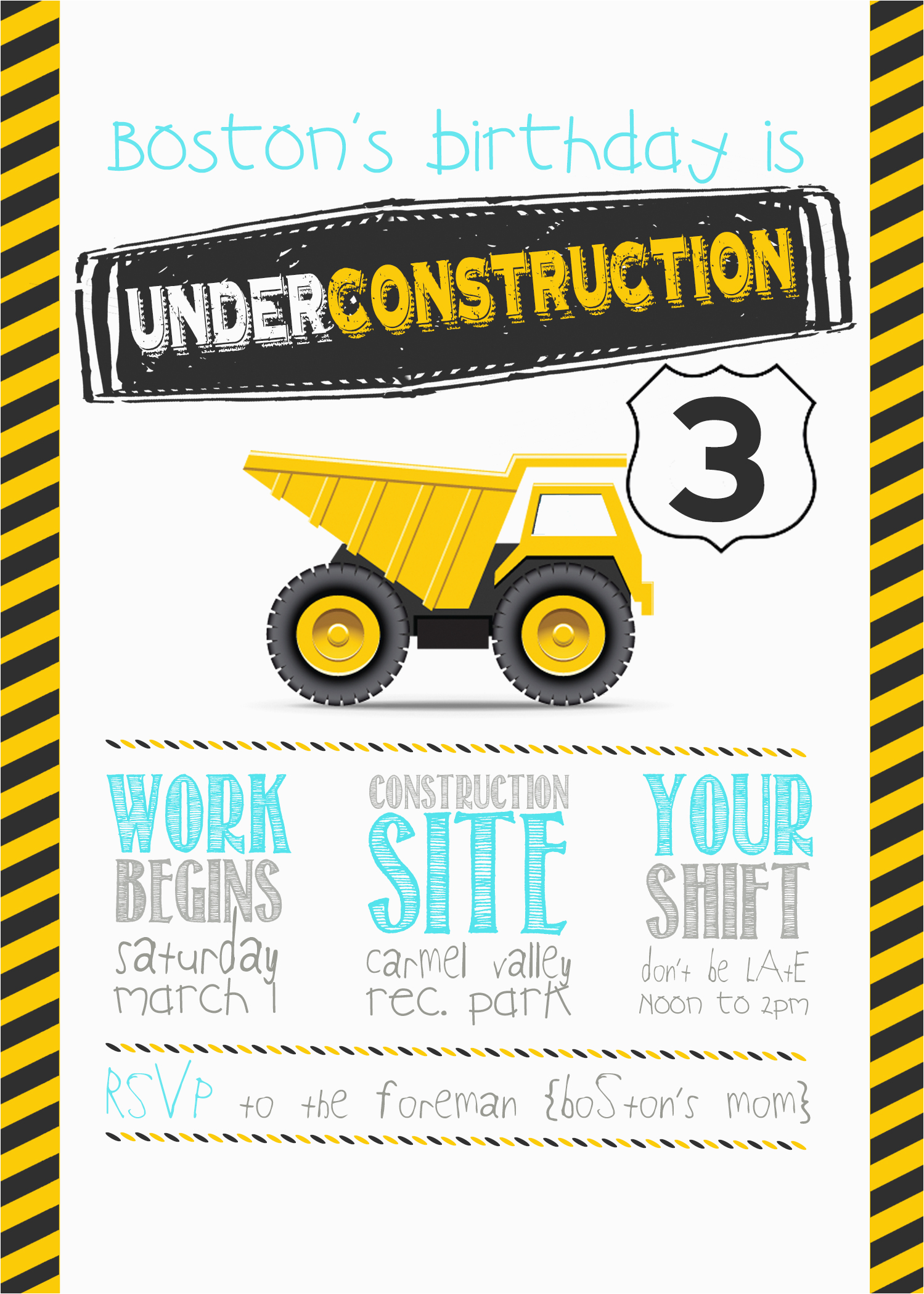 3 year old construction party free printables