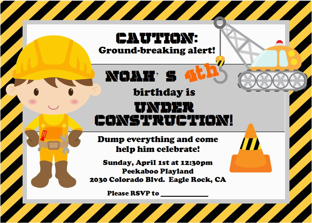 Construction Invites Birthday Party Under Construction Party Lynlee 39 S