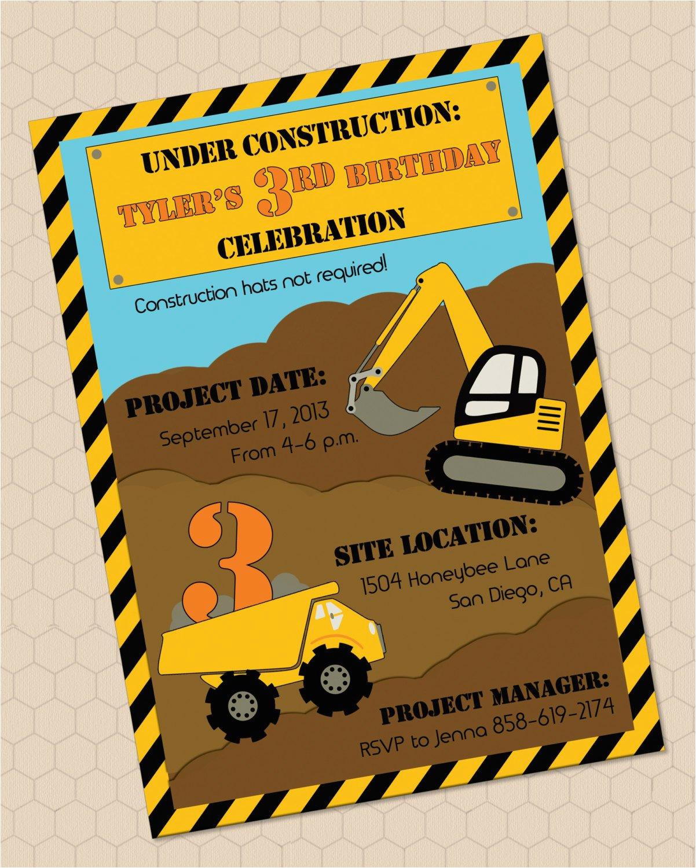 construction themed birthday invitation