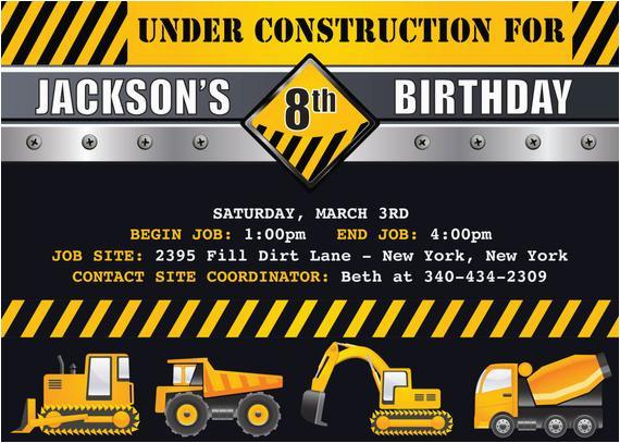 Construction themed Birthday Party Invitations Items Similar to Construction Trucks Birthday Party themed
