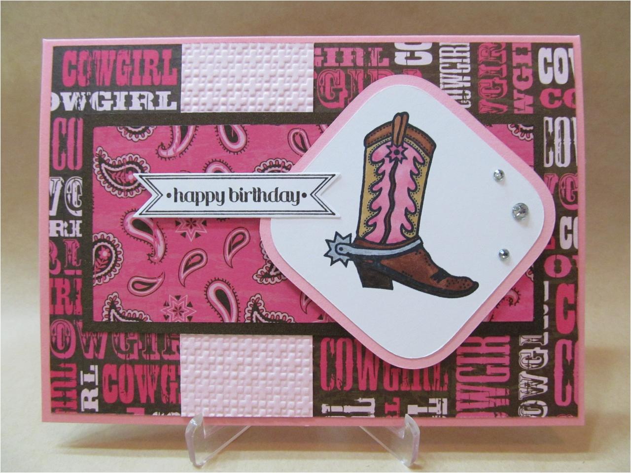 savvy handmade cards cowgirl happy birthday card