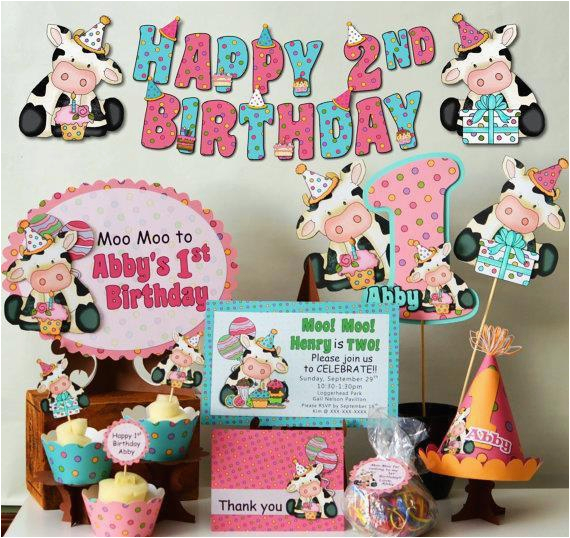 cow birthday party package cow baby