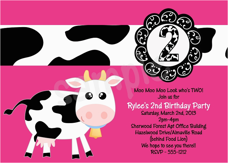 cow birthday party invitations p 2291