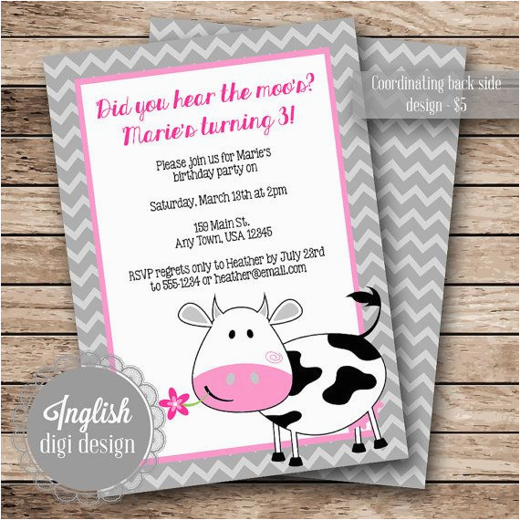 free printable cow birthday invitations