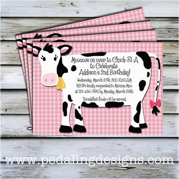 printable invitations pink cow birthday