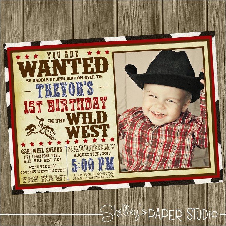 cowboy birthday party invitation photo