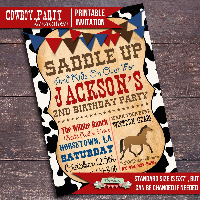 printable cowboy party invitation