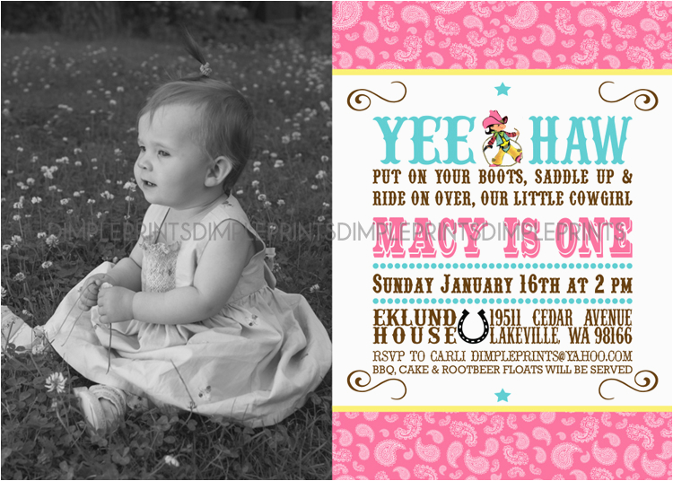Cowgirl 1st Birthday Invitations Vintage Printable Photo Invitation Dimple Prints