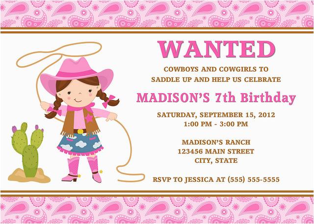 Cowgirl Birthday Invitation Wording Cowgirl Birthday Invitations Ideas Bagvania Free