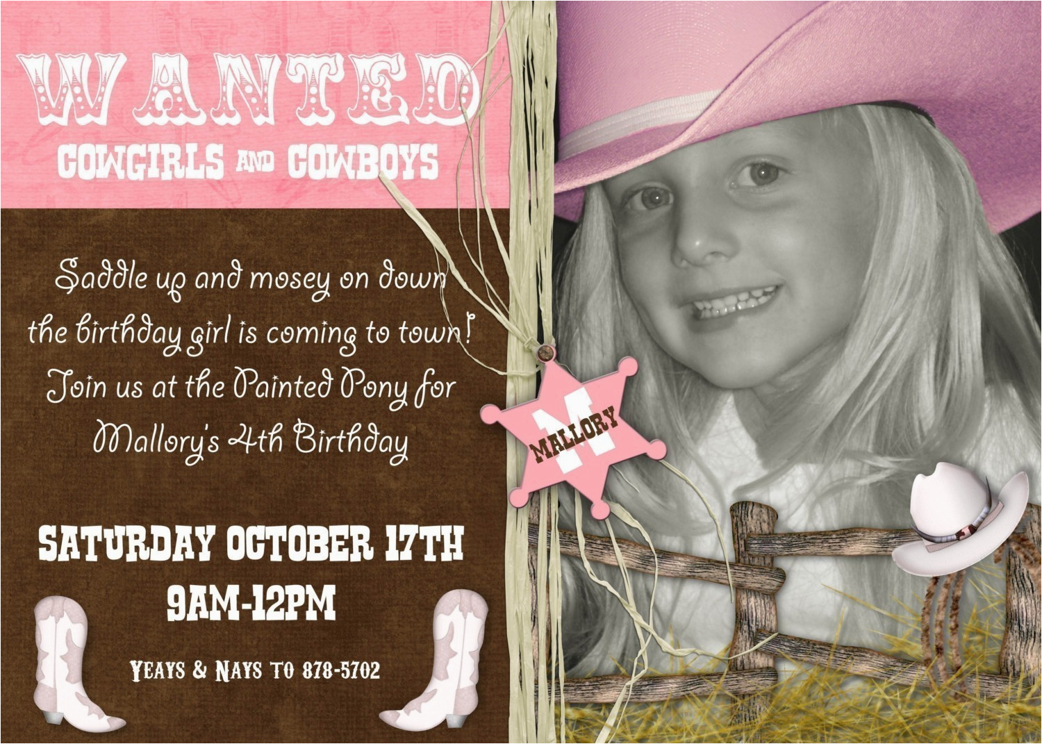 cowgirl birthday party invitations template
