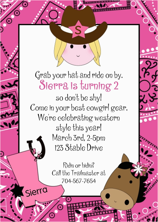 Cowgirl Birthday Invitation Wording Pink Cowgirl Bandana Birthday Invitation Printable or Printed
