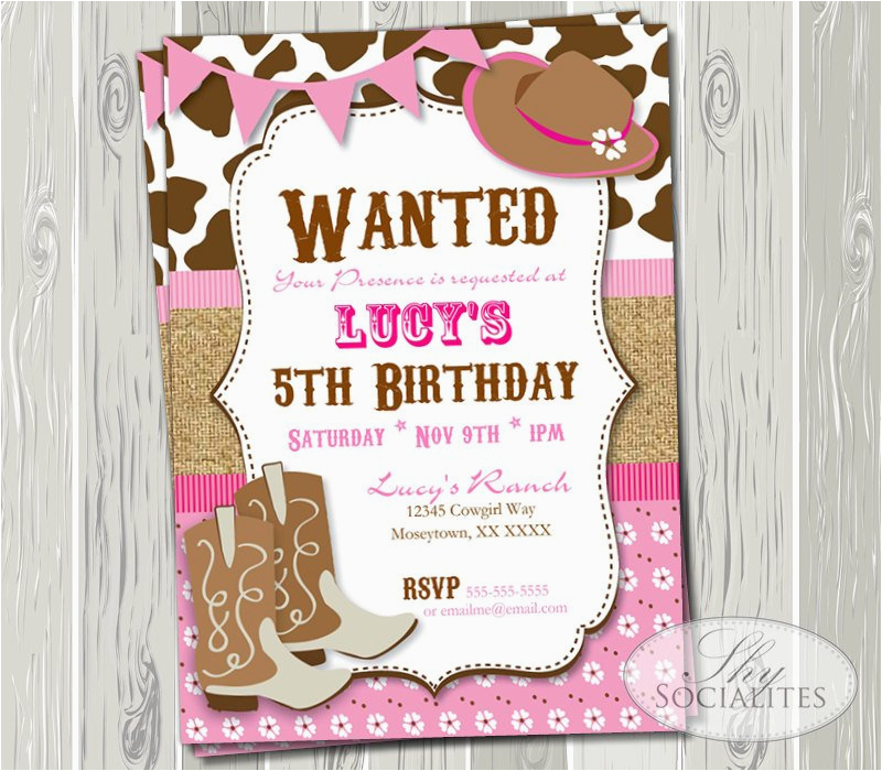 Cowgirl Birthday Invitation Wording Pink Cowgirl Party Invitation Birthday or Baby Shower