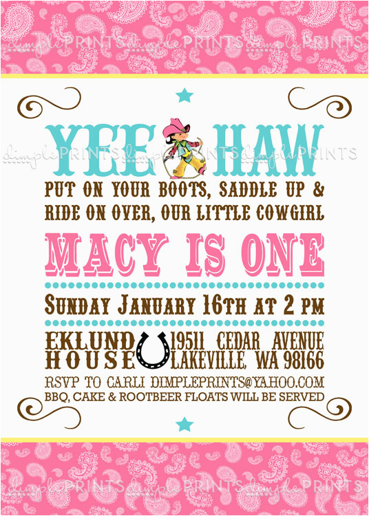Cowgirl Birthday Invitation Wording Vintage Cowgirl Birthday Invitation Digital Printable
