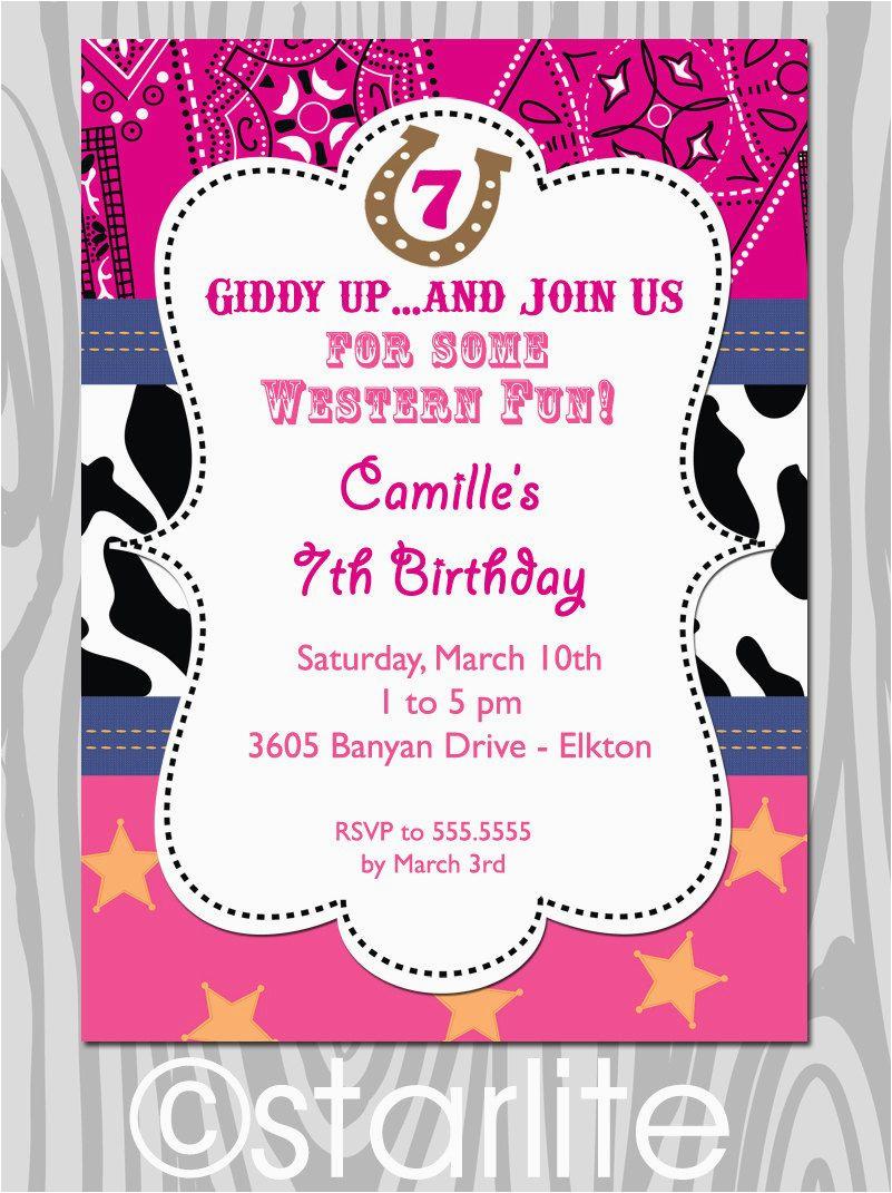 Cowgirl Birthday Invitation Wording Western theme Birthday Party Invitation Pink Bandana