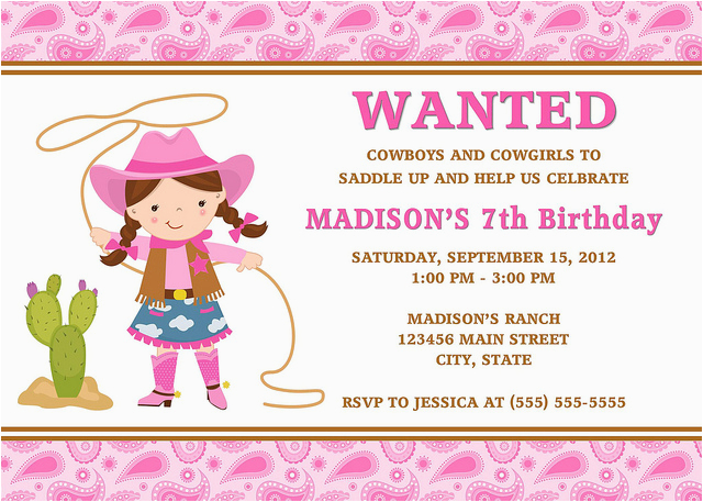 cowgirl birthday invitations ideas